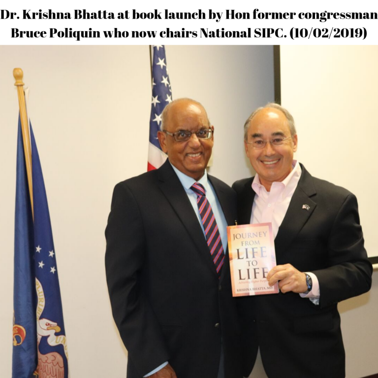 Dr. Krishna Bhatta at book launch by Hon former congressman Bruce Poliquin who now chairs National SIPC. (10-02-2019)