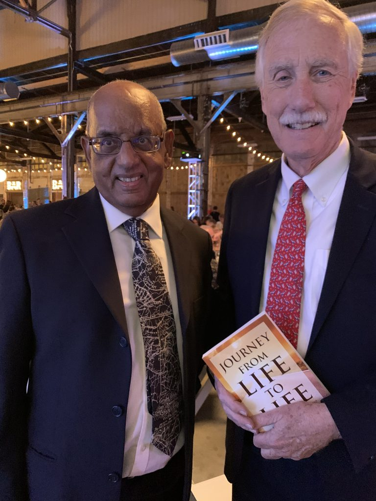 Krishna Bhatta with Senator Angus King
